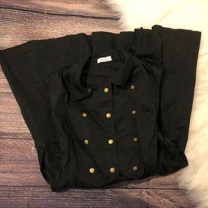 Calvin Klein Button-Up Black Denim Dress